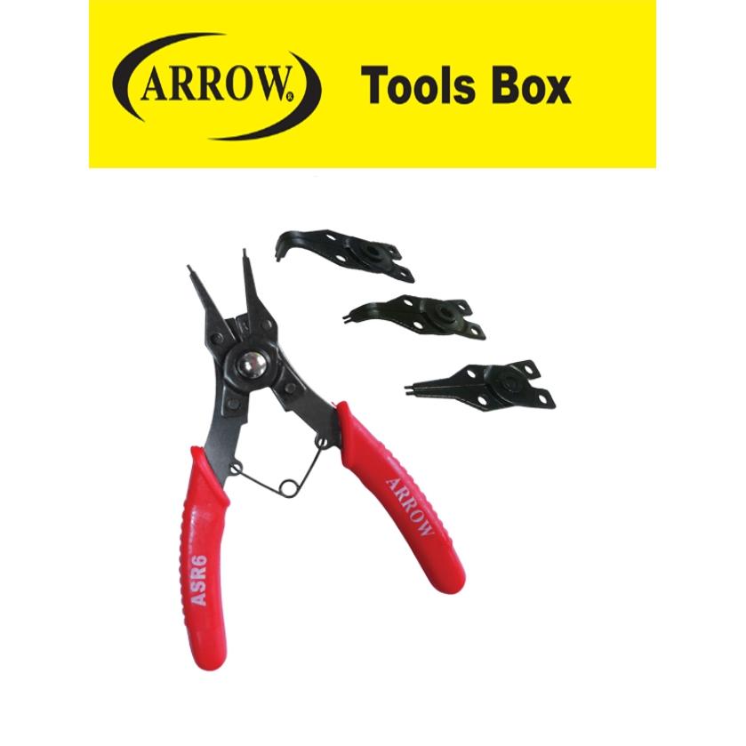 READY STOCK!! ARROW ASR6 6''' COMBINATION SNAP RING PLIER INTERNAL & EXTERNAL PLIERS EASY USE SAFETY MUDAH