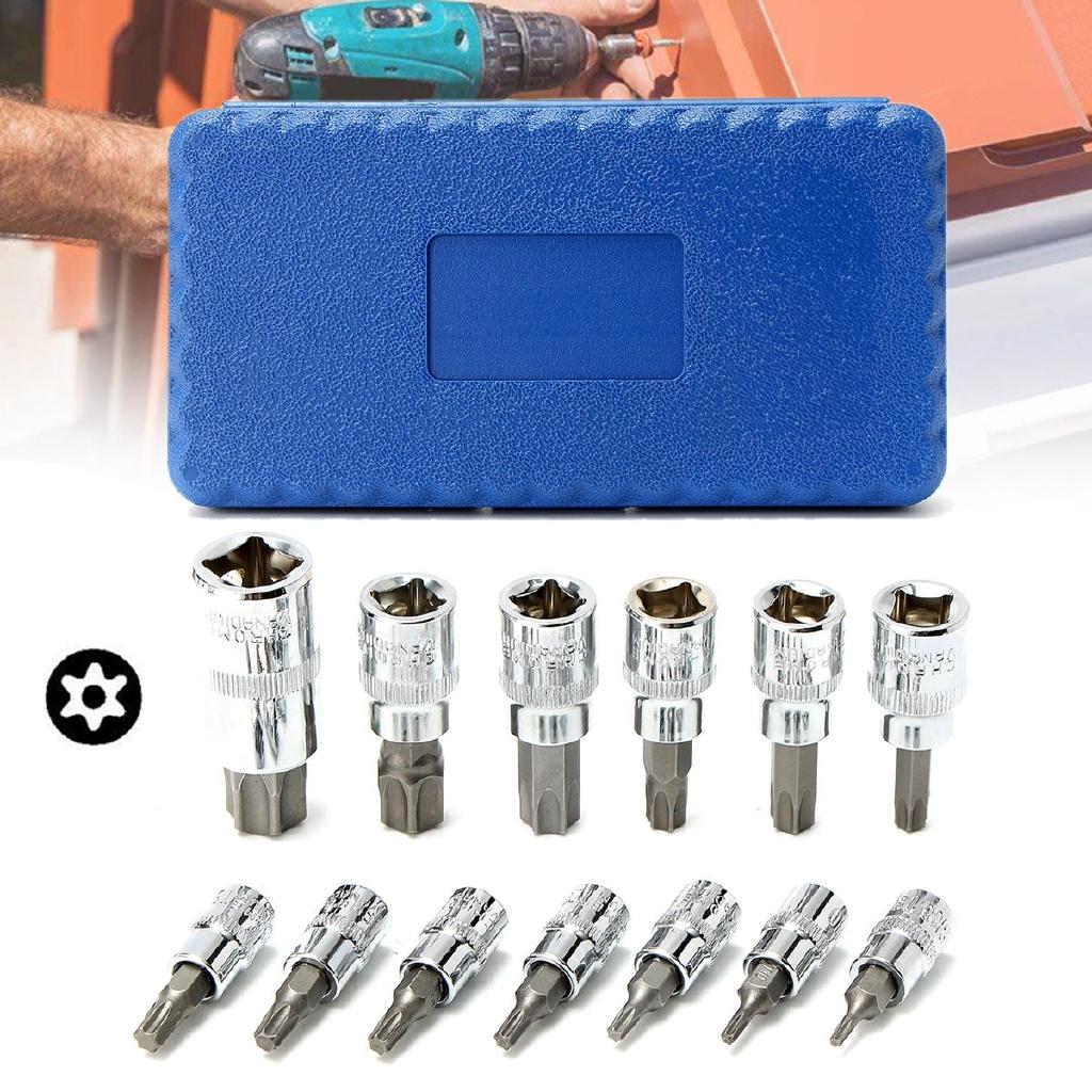 """13PCS Tamper Proof TORX STAR BIT Sockets Set 3//8/"""" 1//2/"""" 1//4/"""" Drive Impact T8-T70"""