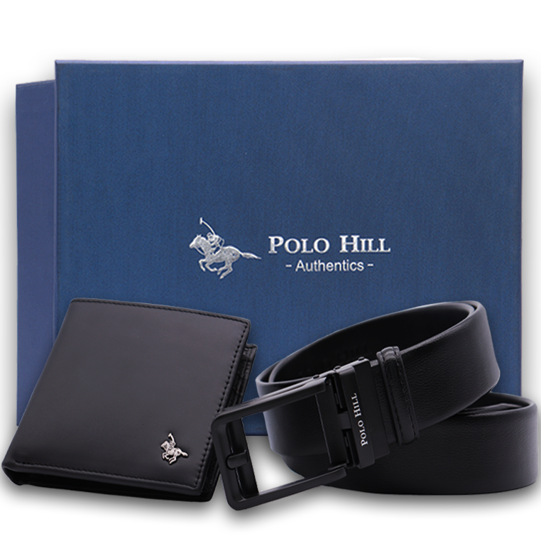 Polo Hill Men Gift Box Set Genuine Leather RFID Wallet Genuine Leather Fake Pin Automatic Buckle Belt PMAS-0A-002