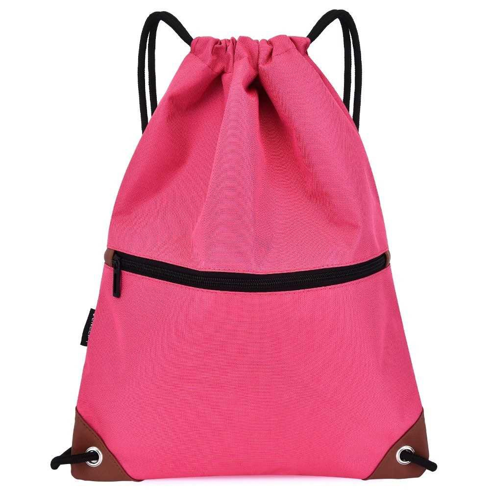 Gym Sack Drawstring Backpack Water-resistant Drawstring Bucket Bag with Zipper Pockets Light Sack for Adults and Teenag