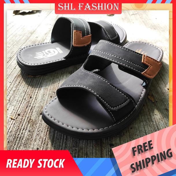 SHL Men PU Leather Sandal TWO STRAP Slip On Selipar Kasut Lelaki size 39-44【男士拖鞋】-532
