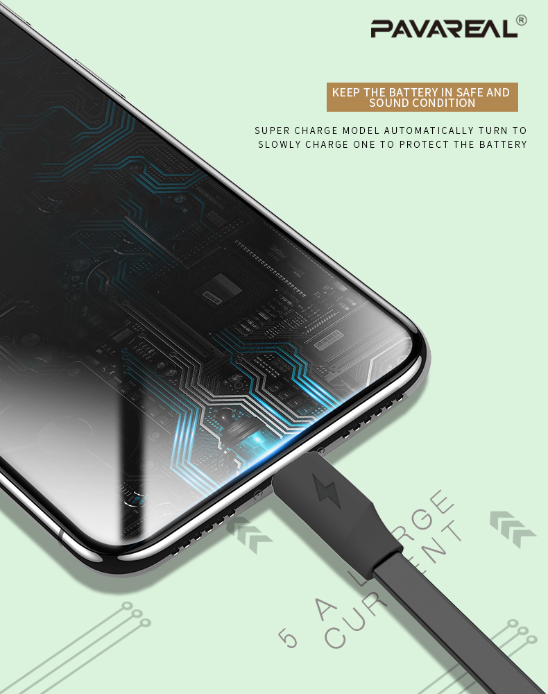 PAVAREAL PA-DC136 QC 3.0 USB C Type C 5A Fast Charging Cable TPE Flat Cable Dual Engine Flash Charge 1M for Android Vivo
