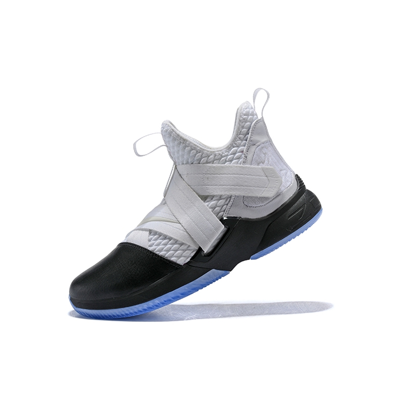 online store 7acc4 777a8 Nike Zoom Lebron James Soldier 12 White/Black Bandage Basketball Shoes 1