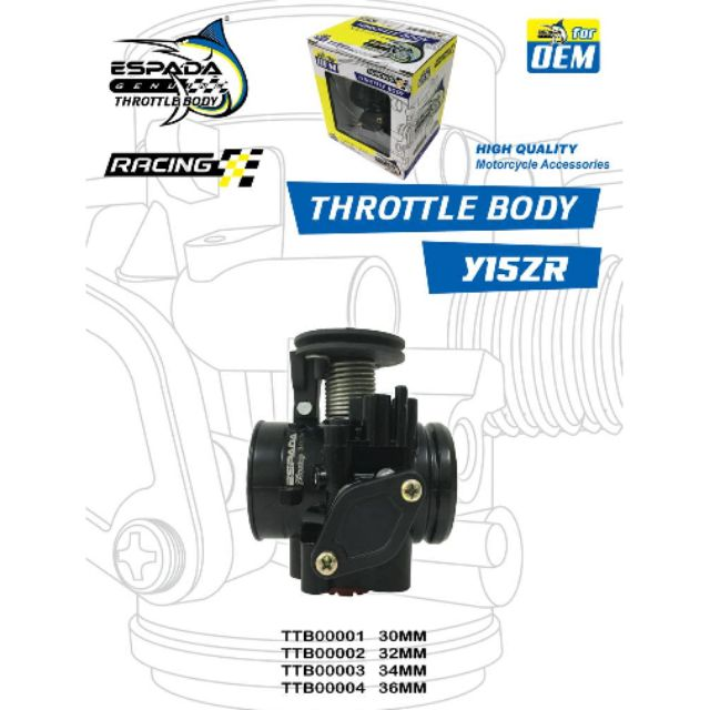 Y15 / Y15ZR Throttle body Racing (Espada)