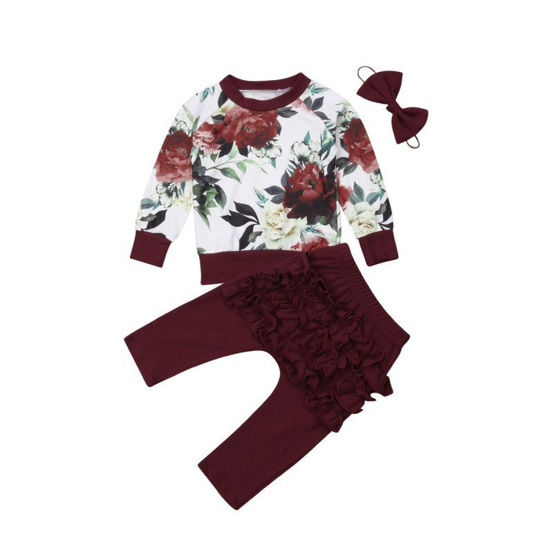568d46da7cc7 ProductImage. ProductImage. 2018 New Toddler Floral Clothes Set Baby Girl  Flower Top Shirt Ruffle Pants Leggings 3Pcs ...
