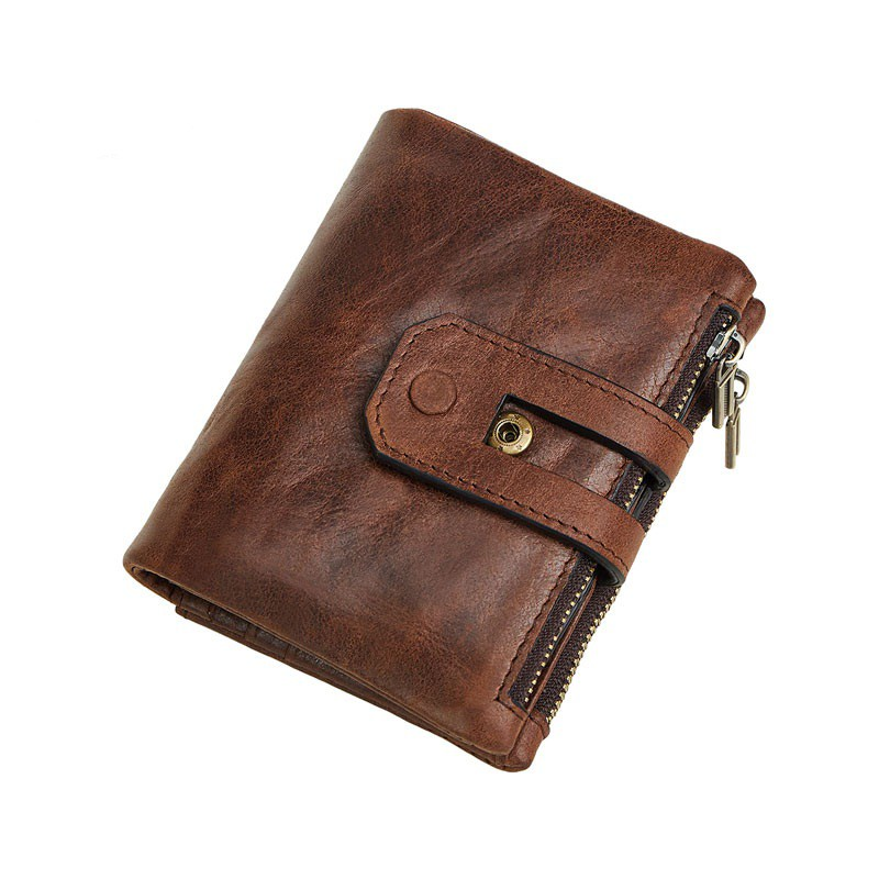 bee1c8e30d3c RFID Blocking Male Purse Double Zipper Genuine Leather Card Holder Wallet