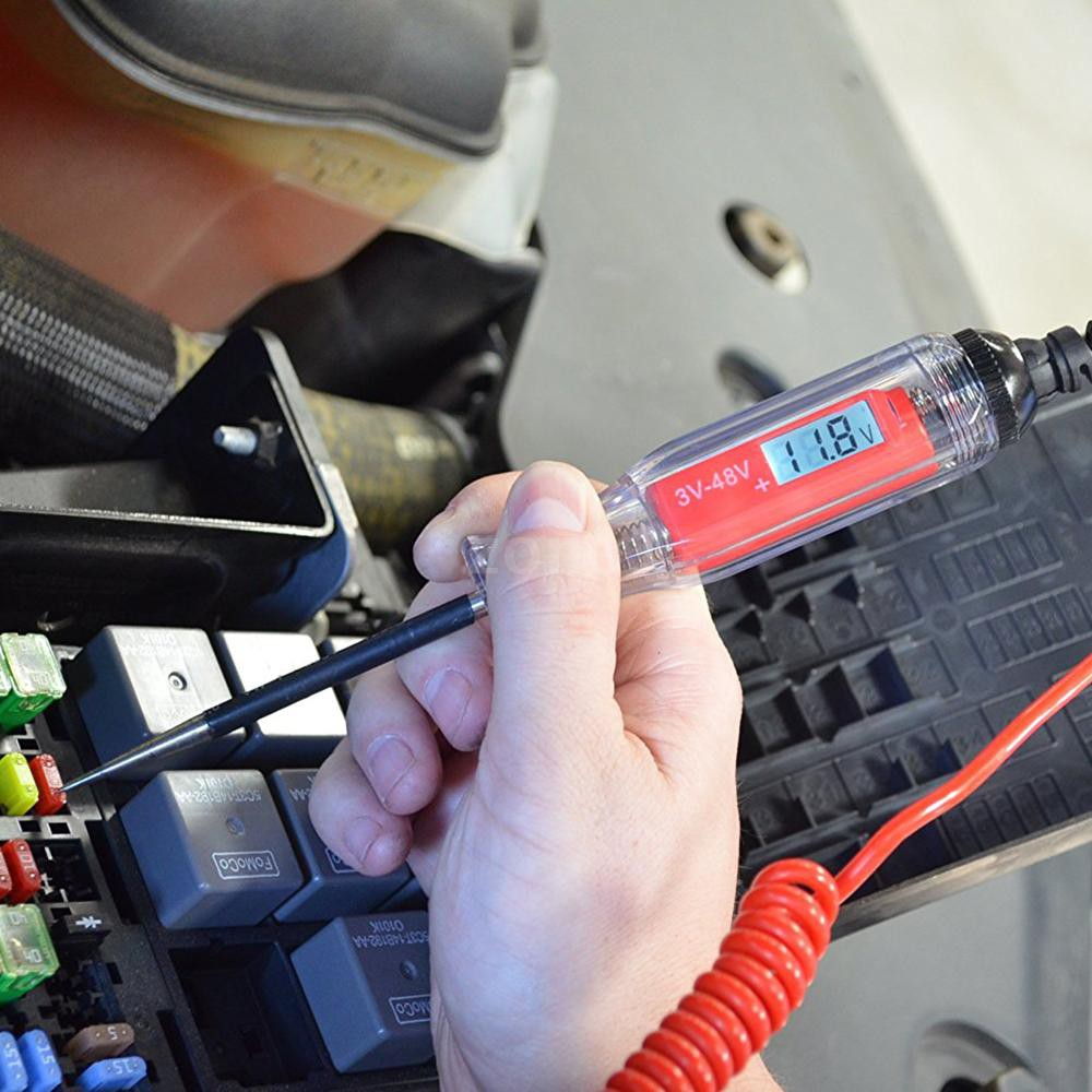 Digital Electric Circuit LCD Tester Car Truck Voltage Power Probe Voltage Test Tool Light Trailer Snowmobile Detector