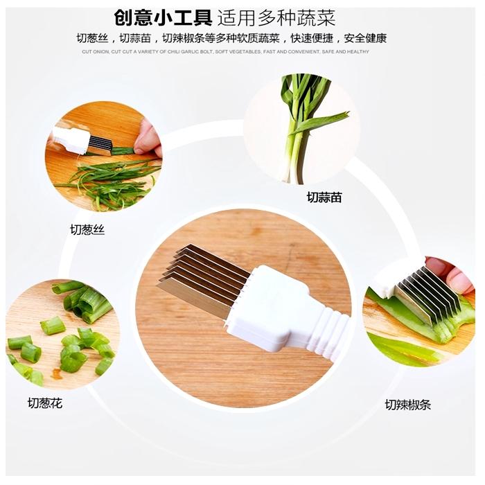 Onion Slice Cutter Kitchen Tool Stainless Steel Negi Scallion Vegetable Sharp