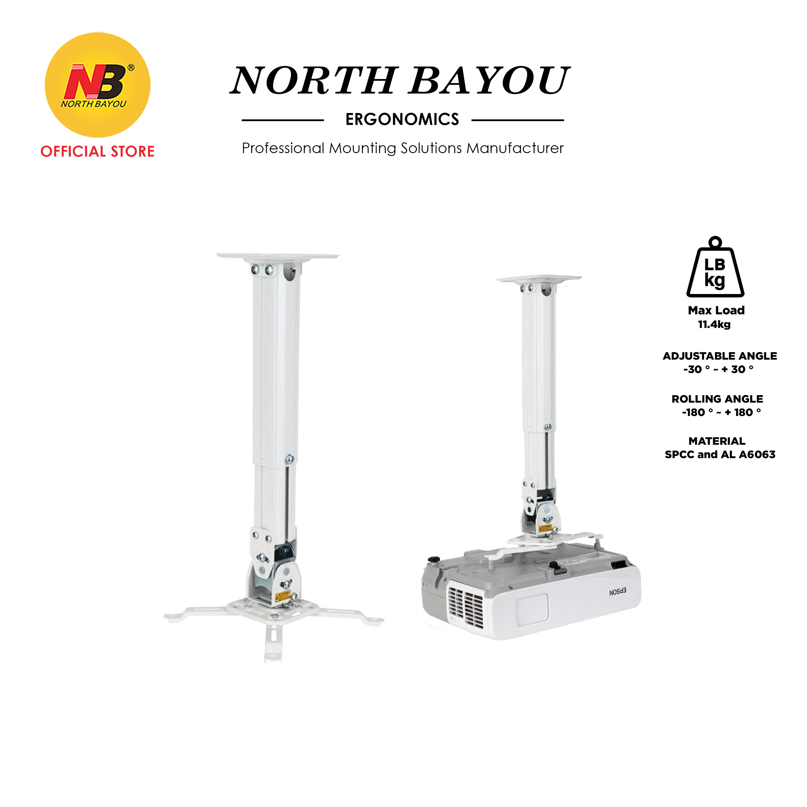 NB North Bayou Universal Projector Ceiling Mount Kit NBT817-60