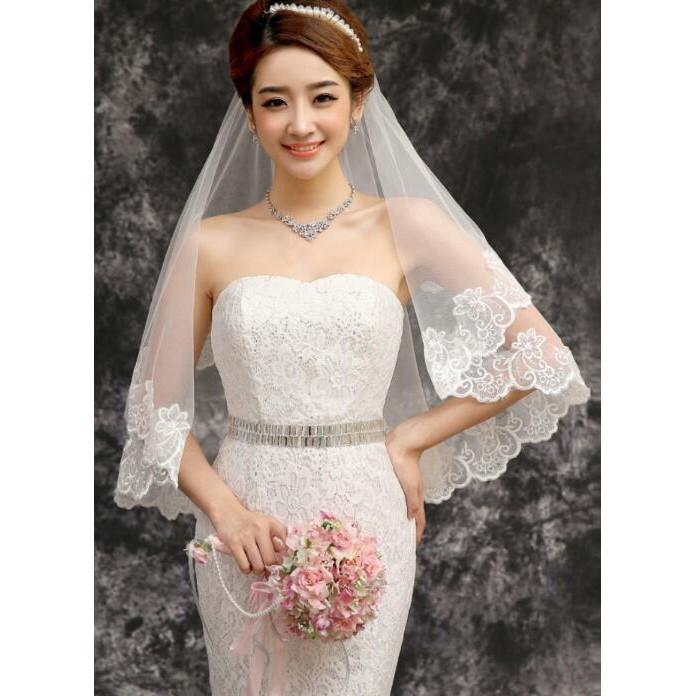 Wedding Dress Veil Bridal Marriage Accessories Lace Ivory Veil 1 5m Shopee Malaysia