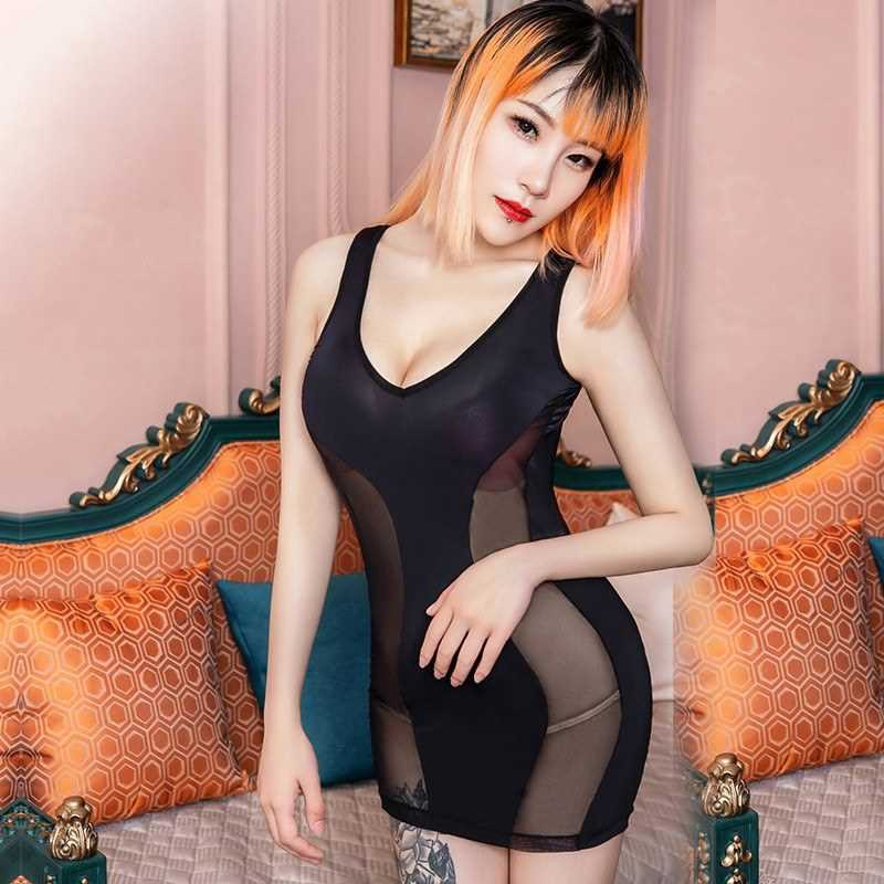 Sexy Women Lingerie Dress Semi-sheer Splice Solid Scoop Neckline Sleeveless Night Club Mini Bodycon Pajamas Black/Red (