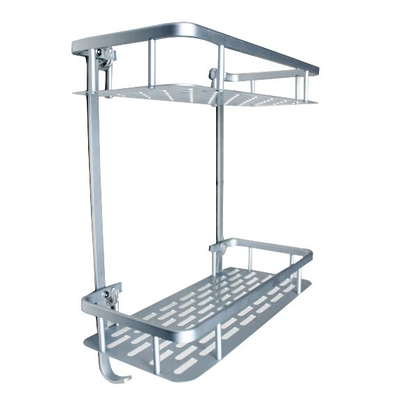 Strong adhesive wall mounted square Shelf without drilling (2 tiers)