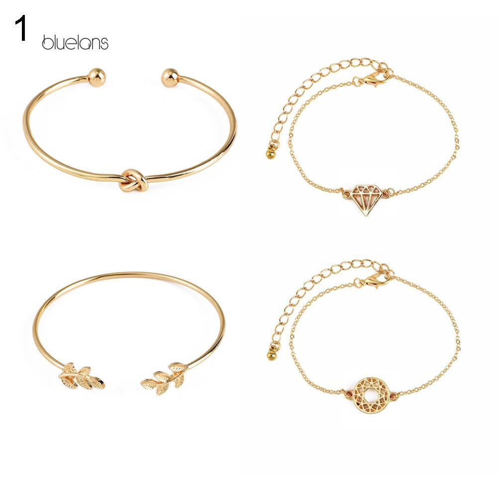 4 Pcs Female Accessories Bracelet Circle Triangle Leaf Bangle Jewelry Gift LH
