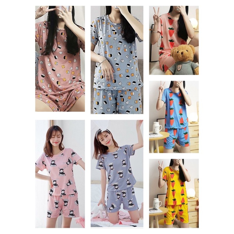 [READY STOCK] WOMEN SHORT SLEEVE & SHORT TROUSER SLEEPWEAR PYJAMAS WITH PRINTED DESIGN - FREE SIZE(FIT UP TO SIZE L)