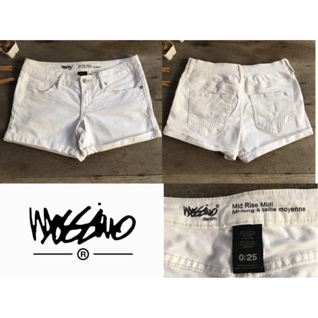2sis1bro แบรนด์แท้ Mossimo Denim กางเกงยีนส์ ขาสั้น กางเกงขาว Mid Rise Midi มือสอง พร้อมส่ง