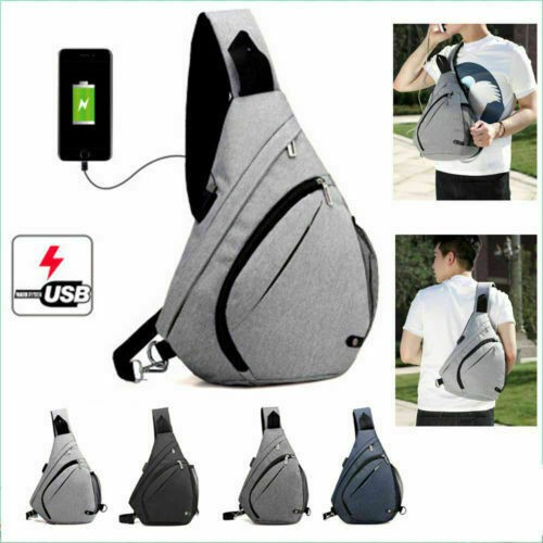 Men Casual Chest Bag Outdoor Travel Fashion Crossbody Sling Bag with USB Port