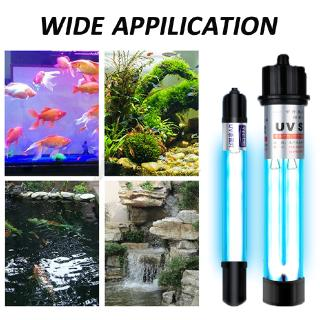Tank Pond Sterilization Lamp UV Germicidal Lamp Double Tube Aquarium UV Light Timer Controlle for Diving Type Ultraviolet Fish Water Disinfection Lamp,5W