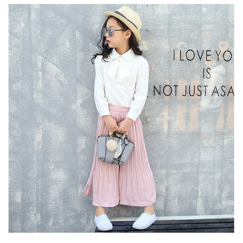 Kid Girls White Shirts Long Sleeves Blouse Spring Fall Teenage Girl Blouses  | Shopee Malaysia
