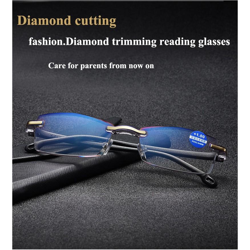 Anti-Blu-ray Diamond Cutting Metal Rimless Reading glasses