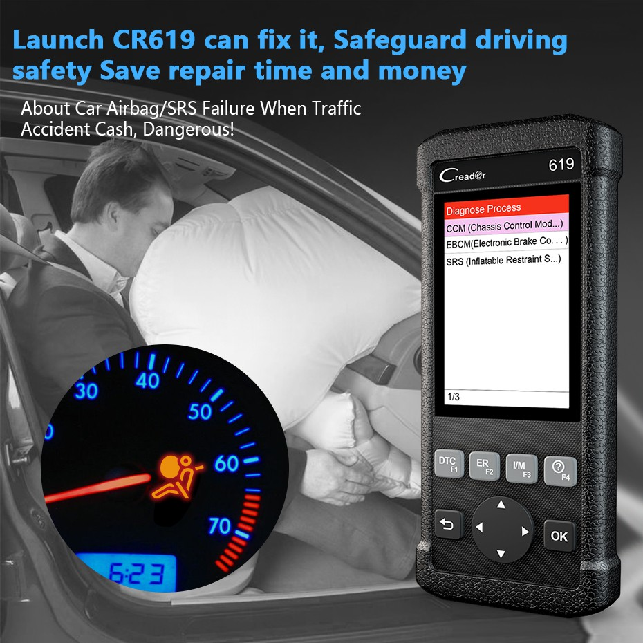 Launch CR619 Automotive Diagnostic Tool Car Engine Fault Code Clear ABS  Airbag Errors OBD2 Scanner