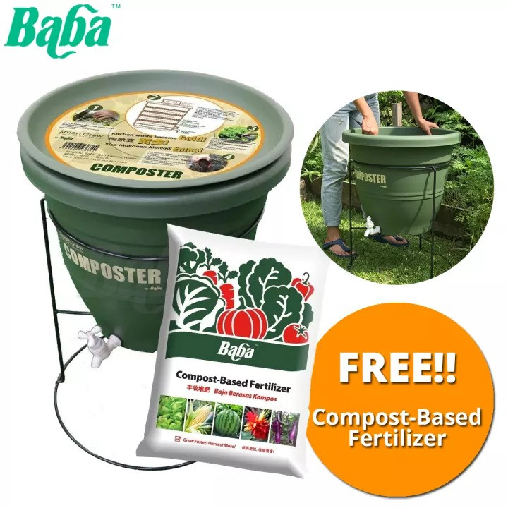 Baba Smart Grow CP-30L Composter With Stand + FREE Compost-Based Fertilizer