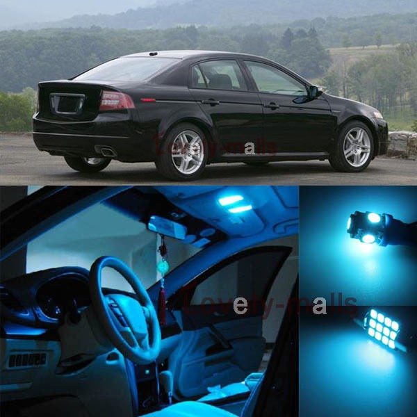 11pcs Ice Blue LED Interior Lights Bulb Package Kit For Acura TL 2004-2008