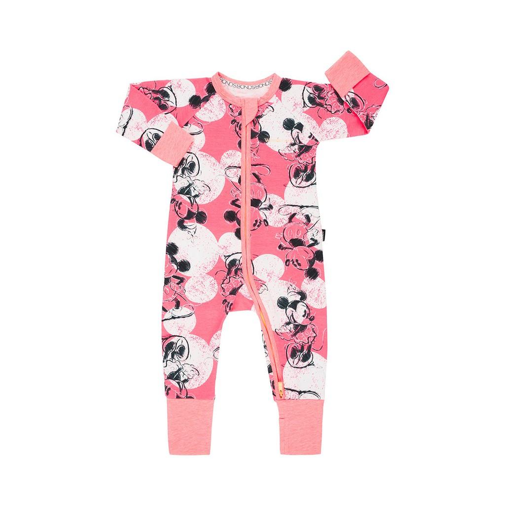 6f63afb77c [Pre Order] BONDS Baby Disney Zip Wondersuit Mickey & Minnie Ears Coral Glo