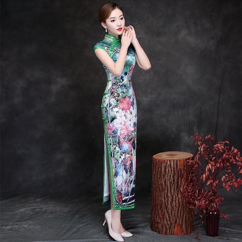 08df5a35ec Sexy2019 Slit Orslim Imitate Real Silk Cheongsam