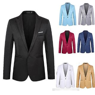 YYG Mens Big /& Tall Slim Fit Solid Color Casual One Button Blazer Jacket Coat