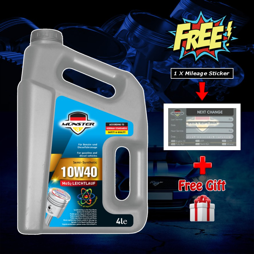 4L - Münster 10W40 API-SN Semi Synthetic Munster Engine Oil Lubricant (Free Mileage Sticker + Free Gift)
