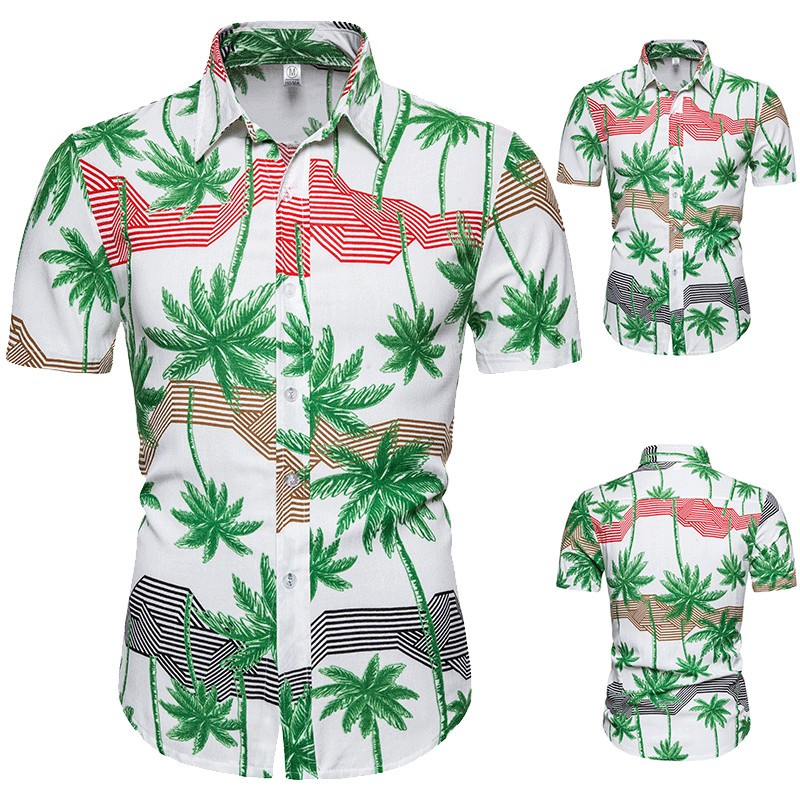 Hawaii Sandy Beach Short sleeve Floral Shirt for Man Cotton Blouse Casual Shirt Mens clothing Slim fit Summer New