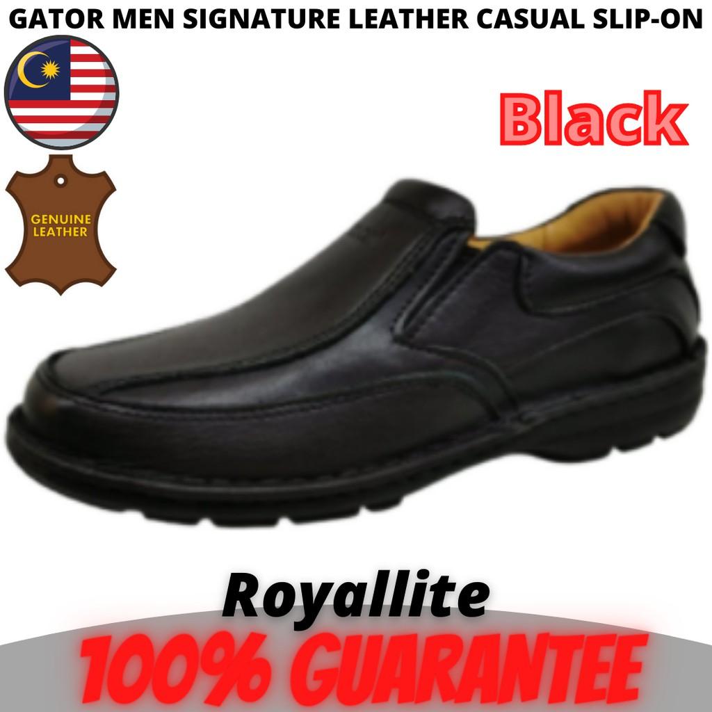 GATOR MEN LEATHER CASUAL SLIP-ON (9111) Black & Coffee
