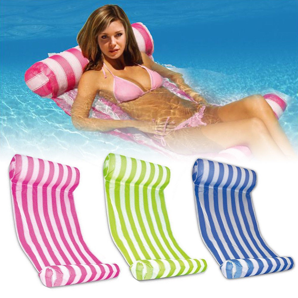 Pump Summer Swimming Pool Toy Hammock Lounge Inflatable Water Floating Bed Mat