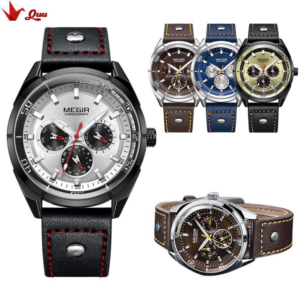 Meigel Calendar Watch Week Leather Men s Watch Large Dial Quartz Watch 2072 aba8974968