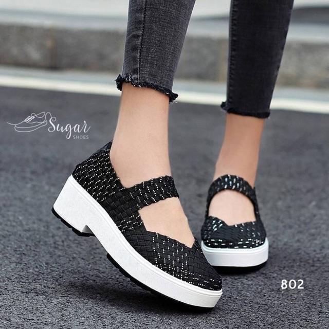 802 รองเท้าลำลองเพื่อสุขภาพแบบยอดฮิต ดีไซสน์สุดเก๋ วัสดุทำจากเชือกถักมือ ส้นสูง 2
