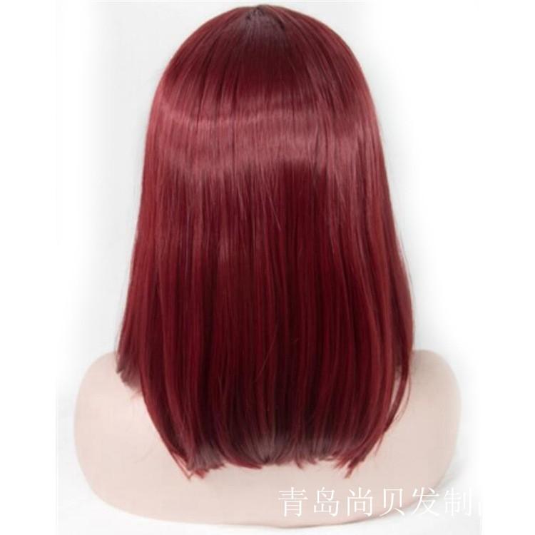 Fashion Women Wine Red Short Bob Lace Front Wigs Shopee Malaysia