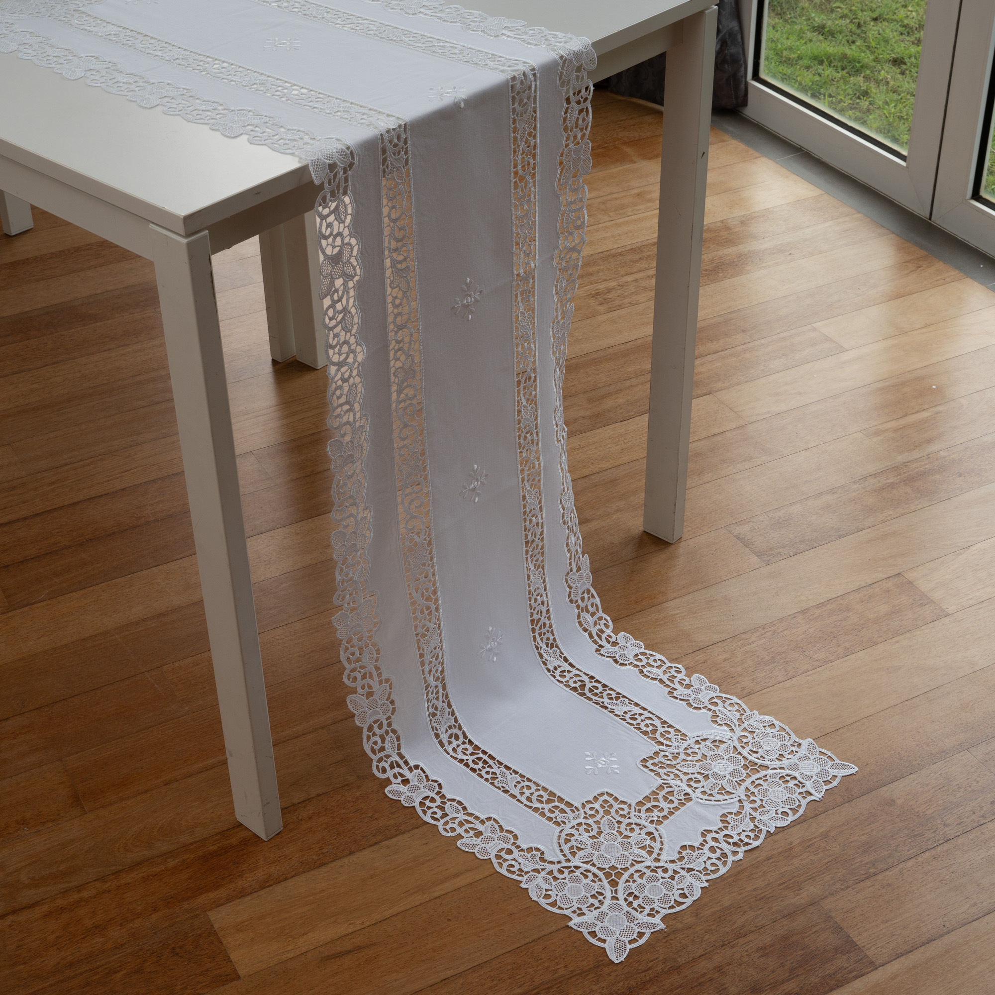 Lace & Embroidery SRB22 Anglo Lace Embroidered Soft Floral Table Runner/Dresser Scarf. Easy Care Polycotton.  Multi-Size (White)