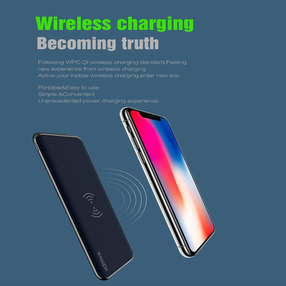 IDMIX 8000 mAh Wireless & Quick Charge 3.0 Power Bank QI Wireless Portable Charger for iPhone Sa