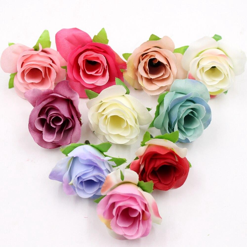 10pcs//Lot Artificial Silk Flower Head Rose Flowers Wedding Bridal Home Decor
