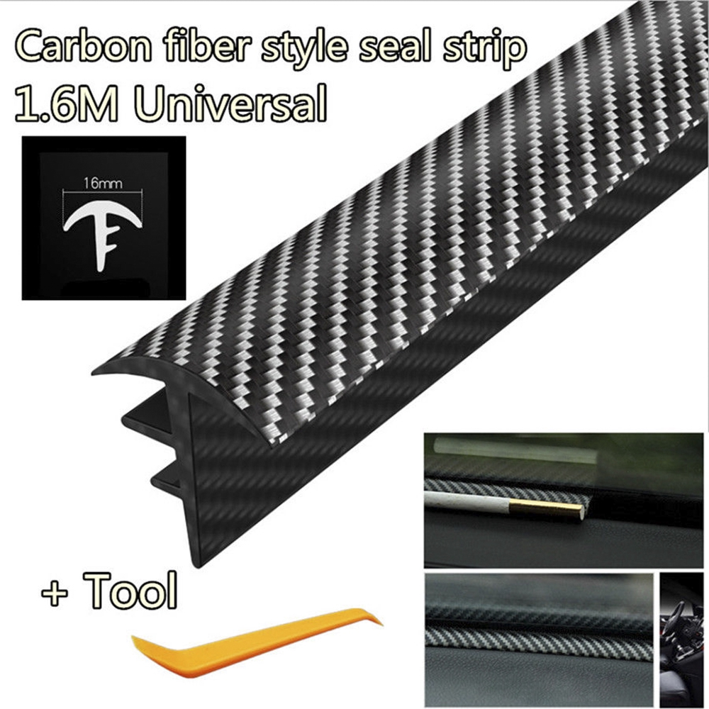 1Pcs 1.6M Carbon Fiber Car Dashboard Gap Filling Sealing Strip Rubber Universal