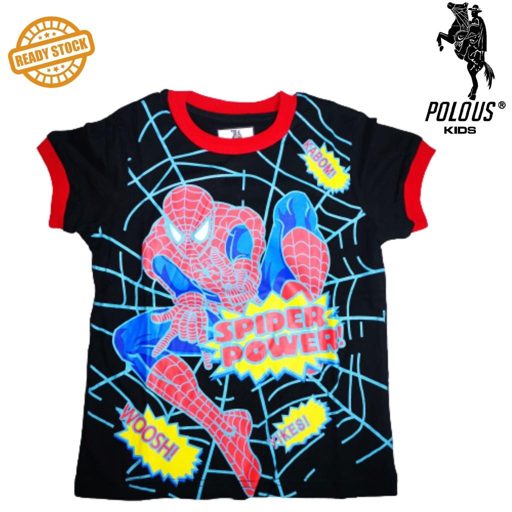 POLOUS Boy Cotton Short Sleeve Round Neck Shirt 9001-SPIDERMAN