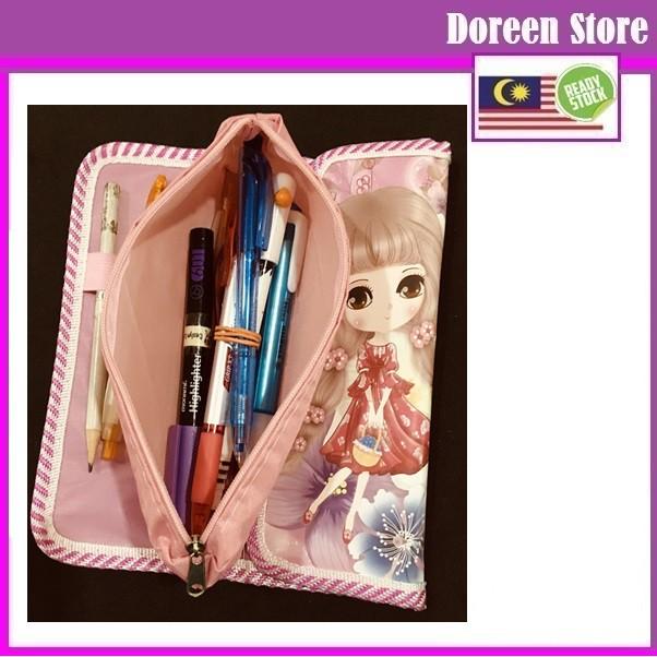 Japanese Foldable Pencil Box Case Sakura Pink Girl