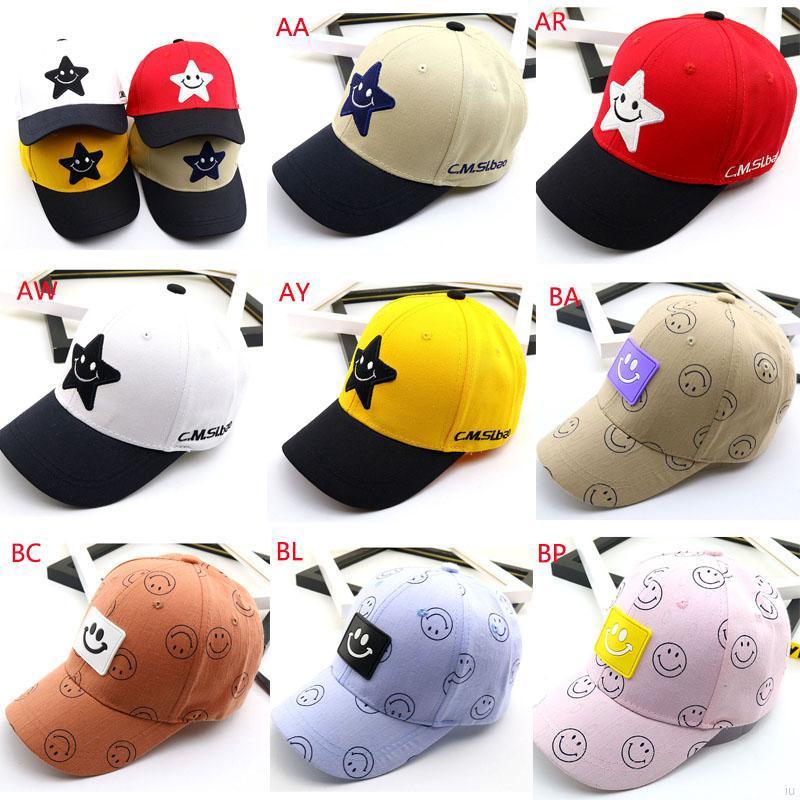 bc1ce32f4 Baby casual cartoon five-pointed star cute smile visor baseball cap ...