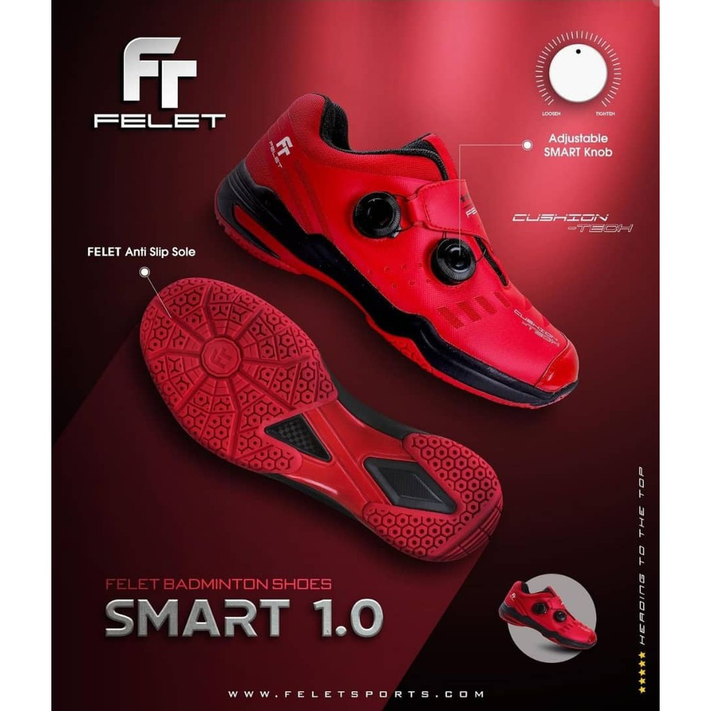 Felet Smart 1.0 Red Badminton Indoor Shoes