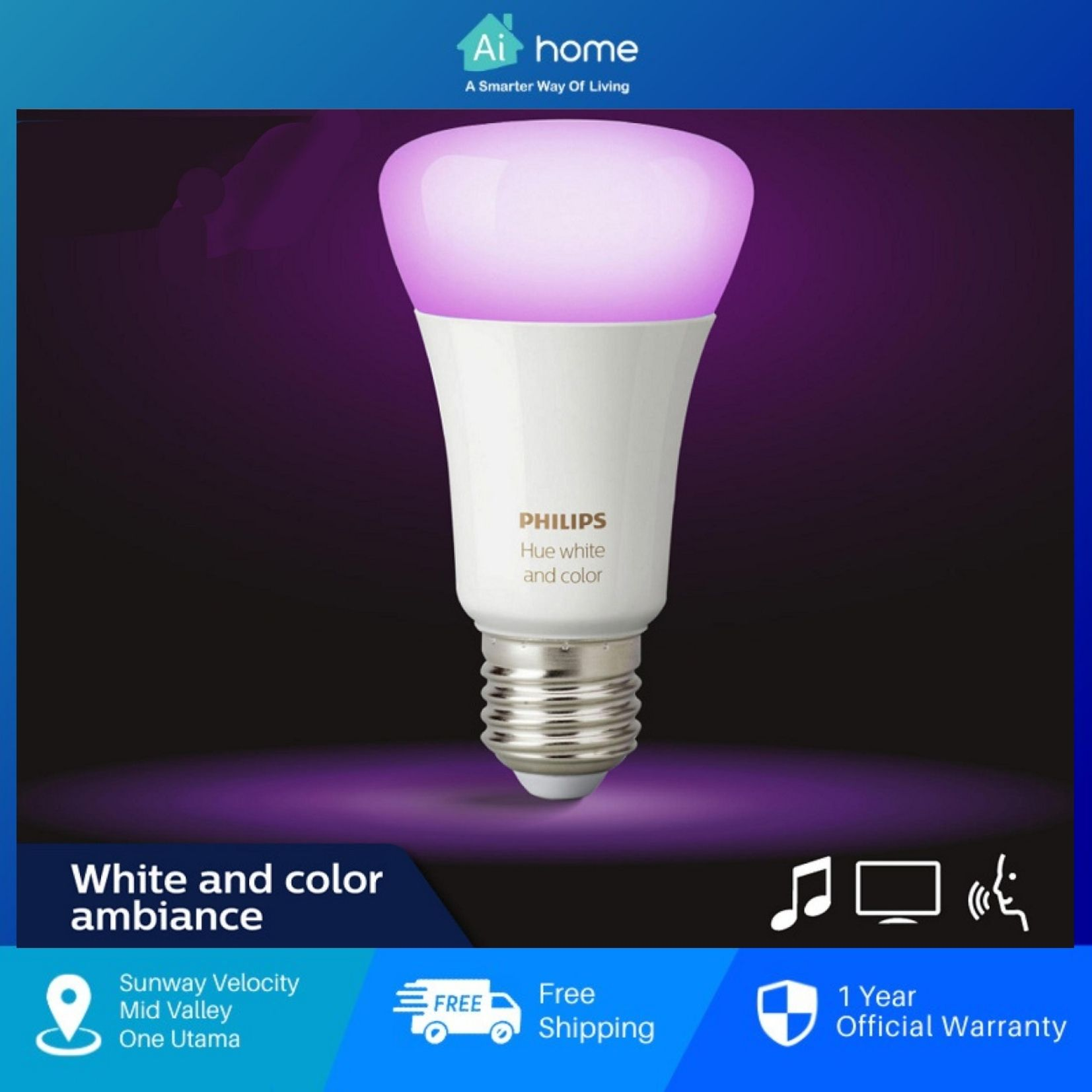 PHILIPS HUE Light Bulb E27 16 millions Color with 2 Year Malaysia Warranty [ Ai Home ]