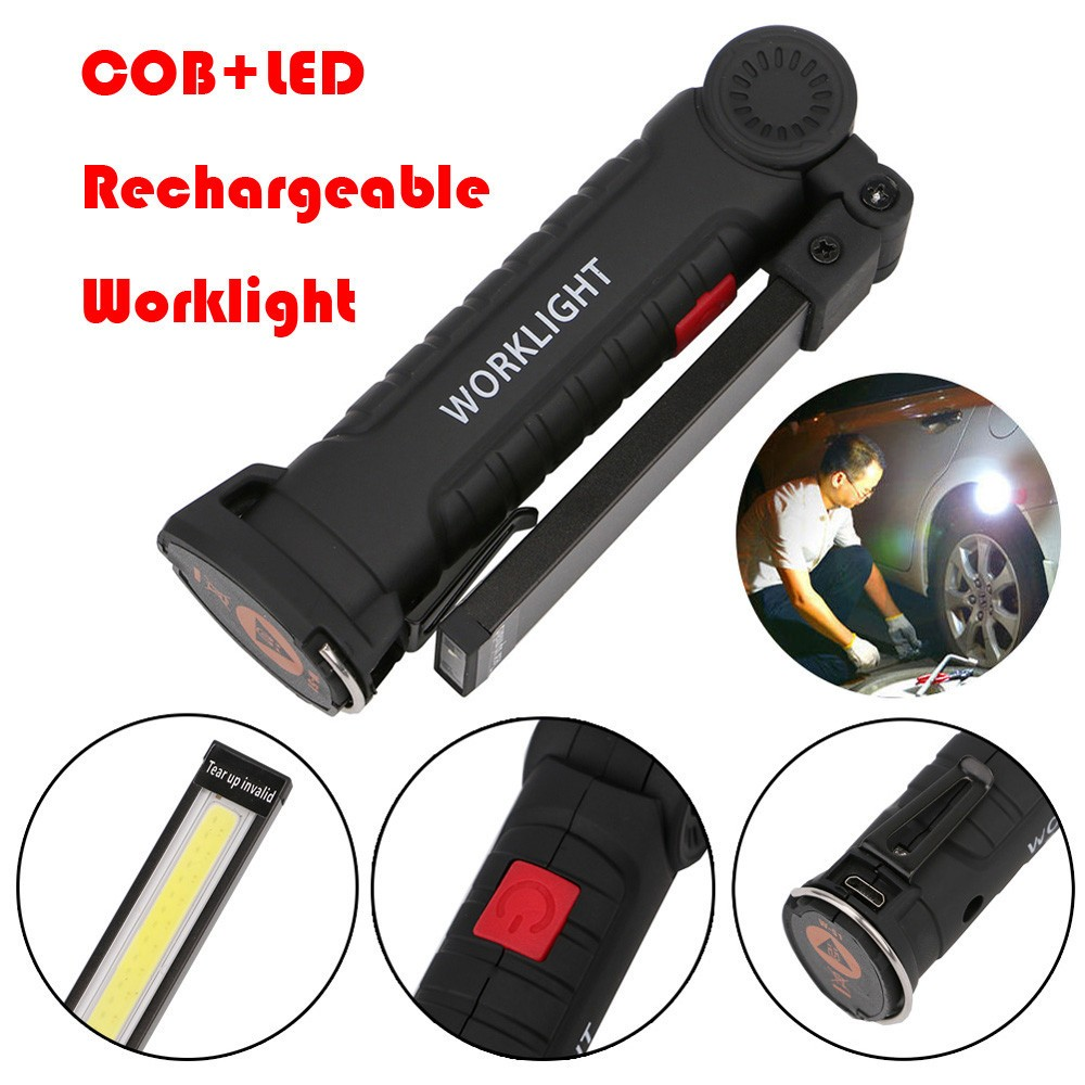 LED COB USB Rechargeable Tactical Zoom Work Light Flashlight Torch Lamps Camping