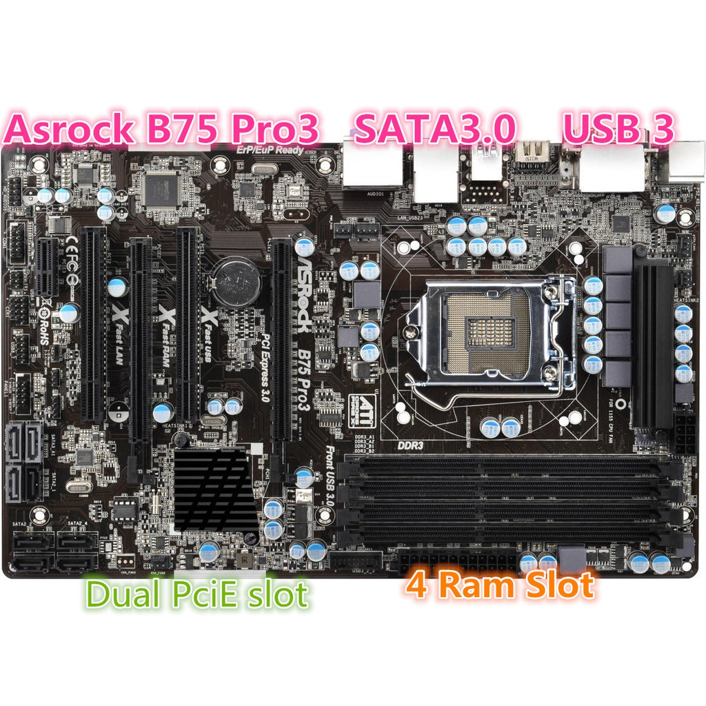 Intel Socket LGA1155 DDR3 B75 MOTHERBOARD - SATA3 /USB3
