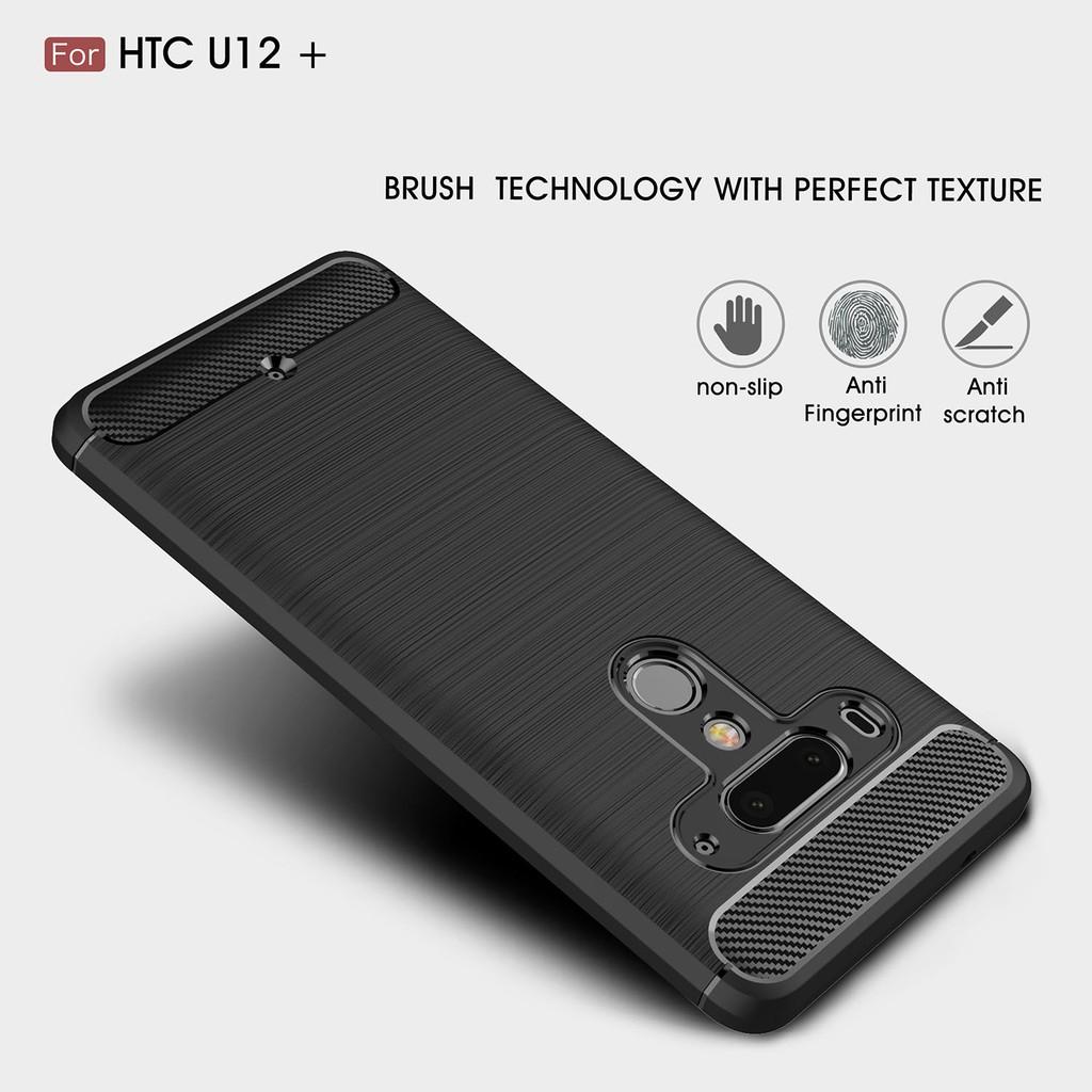 pretty nice f25c0 6d813 HTC U12 U12 Plus Carbon Fiber Leather Grain Rugged Armor TPU Phone ...