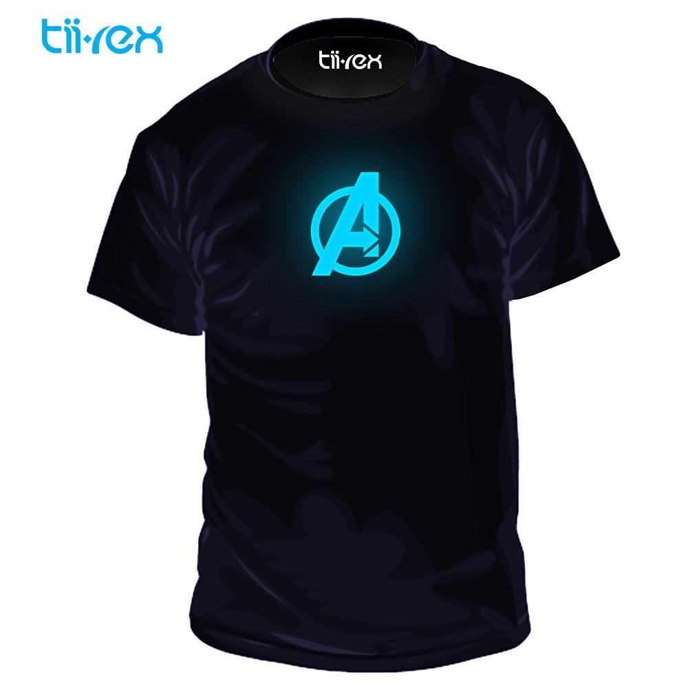 Comics Series Heroes Avengers Blue Glow In Dark Unisex Round Neck T Shirt