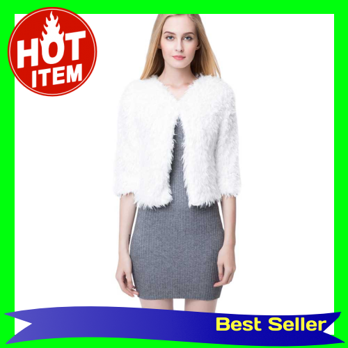 New Women Winter Fluffy Shaggy Coat Faux Fur Round Neck 3/4 Sleeves Hook and Eye Outerwear White/Black (White)